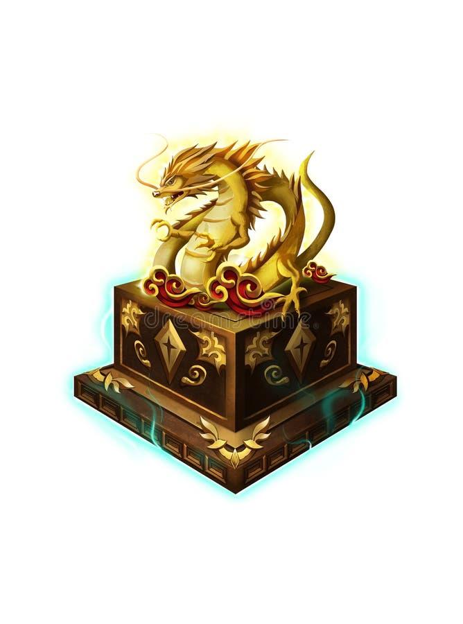 Produto manufaturado antigo chinês, Jade Dragon Seal ilustração do vetor