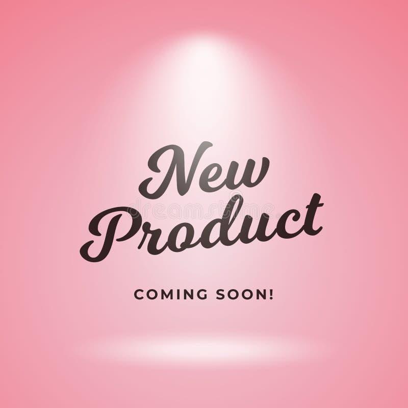 Produto novo que vem logo projeto do fundo do cartaz Contexto cor-de-rosa com ilustração do vetor do projetor ilustração stock
