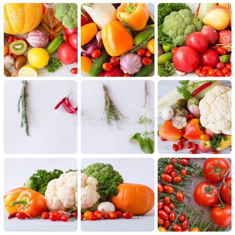 Produto-vegetais frescos de vegetables collage fotografia de stock royalty free