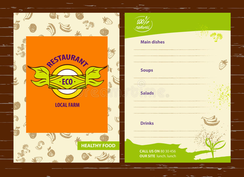 Produtos agrícolas do Local do logotipo do vetor Logotype e menu tirados mão FO ilustração stock