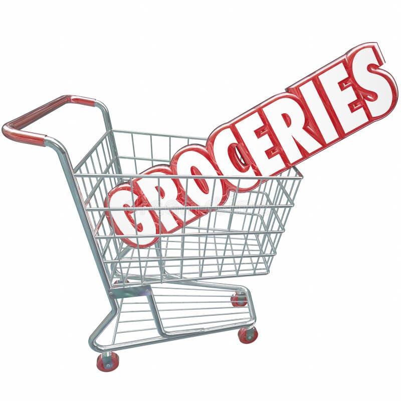 Produtos alimentares da loja da palavra do carrinho de compras dos mantimentos ilustração royalty free