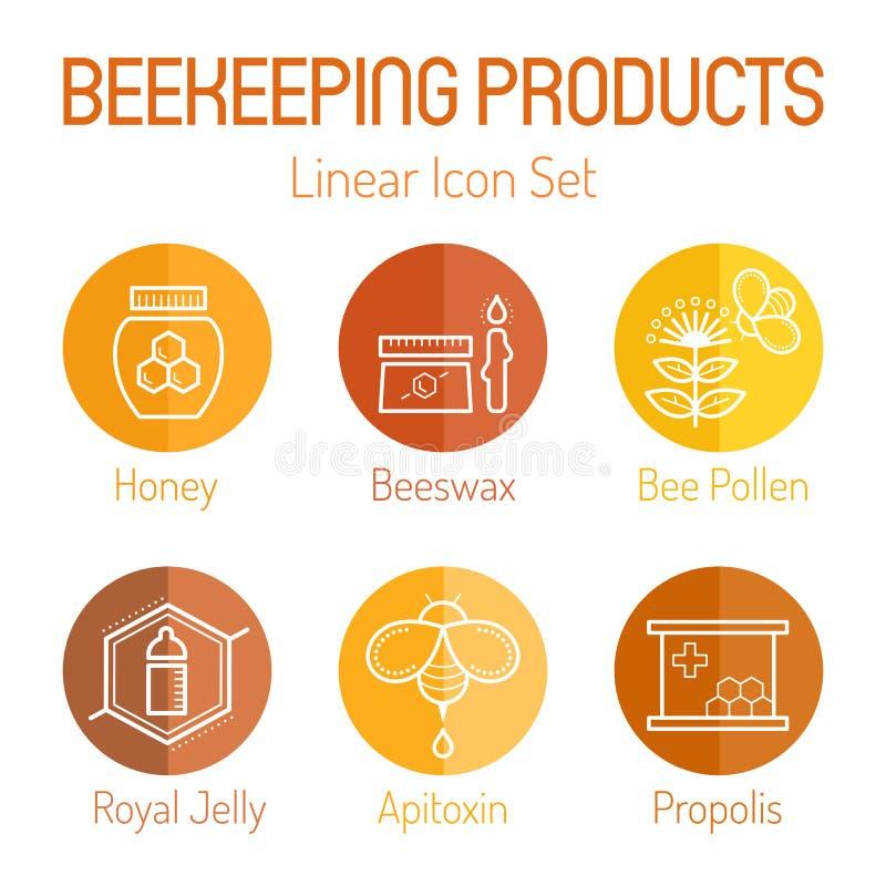 Produtos da apicultura - grupo linear do ícone ilustração do vetor