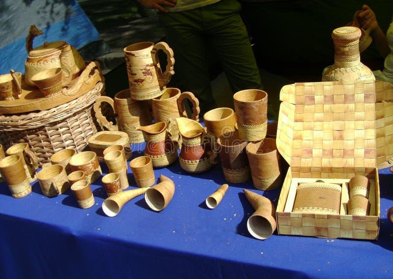Produtos da casca de vidoeiro fotografia de stock