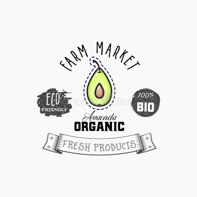 Produtos da etiqueta e do eco do abacate bio Elemento da Web do abacate, vetor isolado ilustração stock