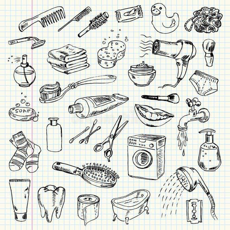 Produtos da higiene e de limpeza do desenho a mão livre ilustração royalty free