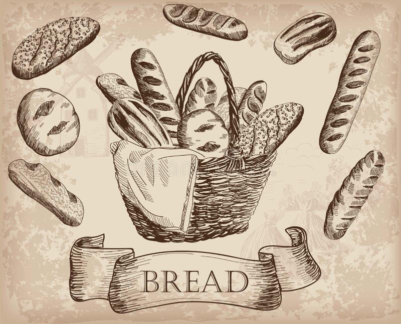Produtos da padaria ilustração royalty free
