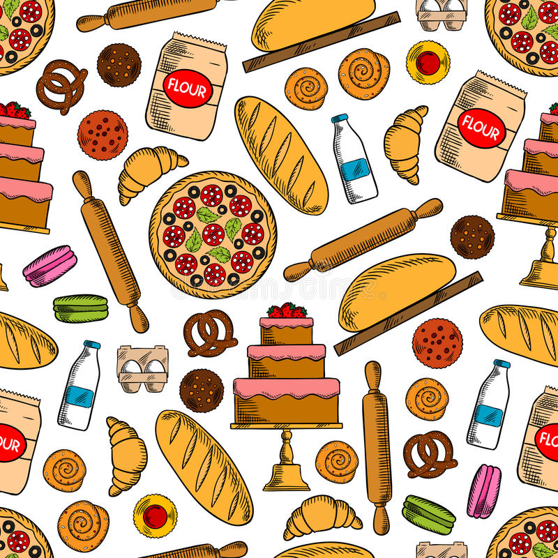 Produtos da padaria com teste padrão sem emenda dos ingredientes ilustração do vetor