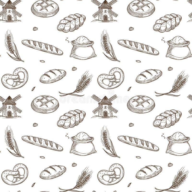 Produtos da padaria, moinho velho e pontos frescos dentro do teste padrão sem emenda ilustração royalty free