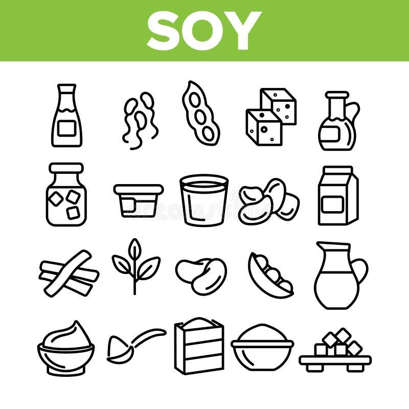 Produtos da soja, grupo linear dos ?cones do vetor do alimento ilustração stock