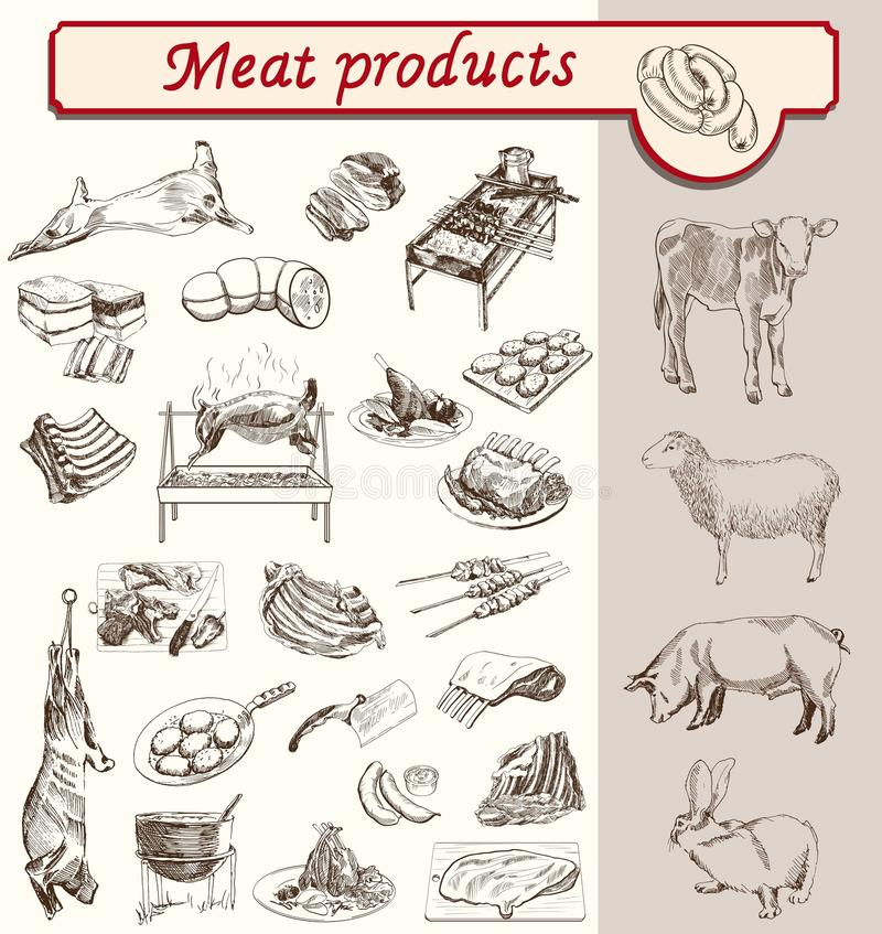 Produtos de carne do appetit do Bon ilustração stock