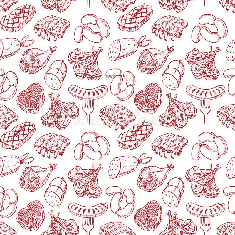 Produtos de carne sem emenda do esboço ilustração stock