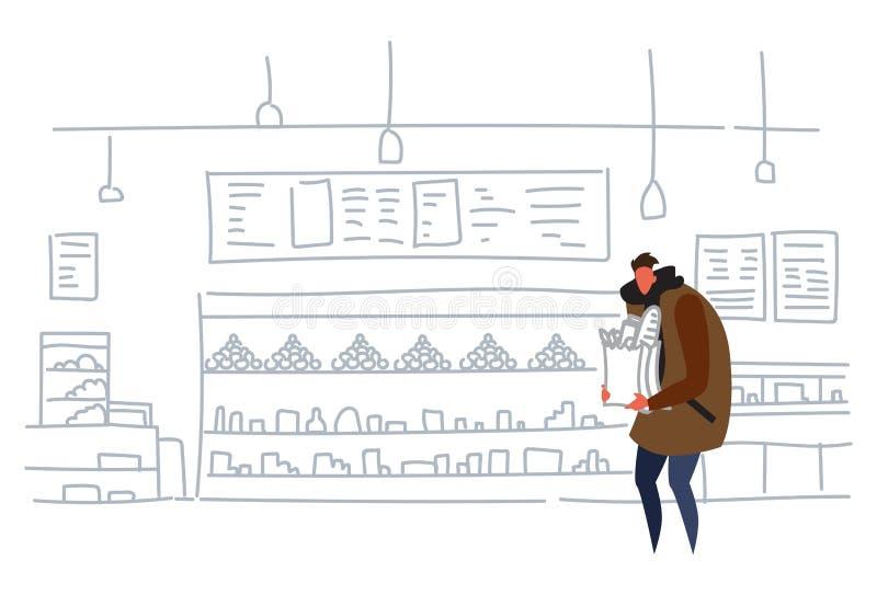 Produtos de compra do saco de papel do ofício da terra arrendada do homem no supermercado ocasional do conceito da compra de alim ilustração royalty free