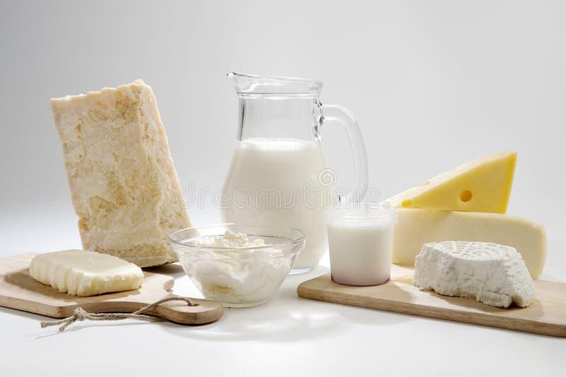 Produtos de leite italianos foto de stock royalty free