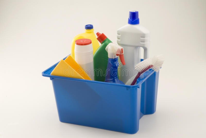Produtos de limpeza do agregado familiar. foto de stock