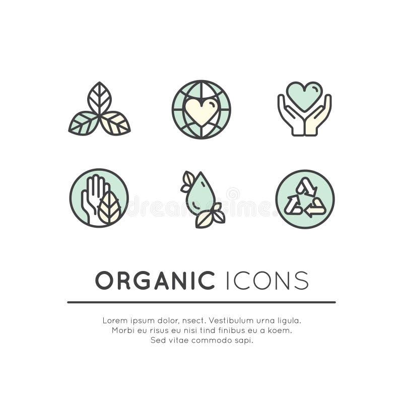 Produtos de Logo Set Badge Fresh Organic da ilustração ilustração royalty free
