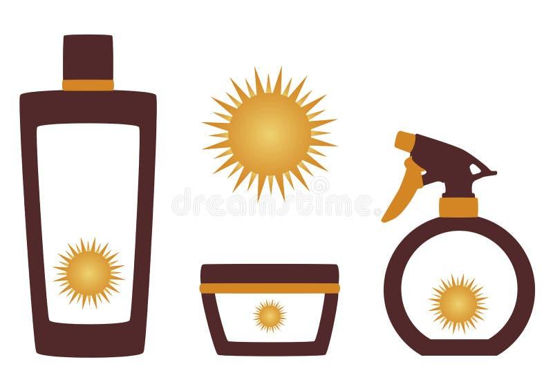 Produtos de Suncare ilustração royalty free