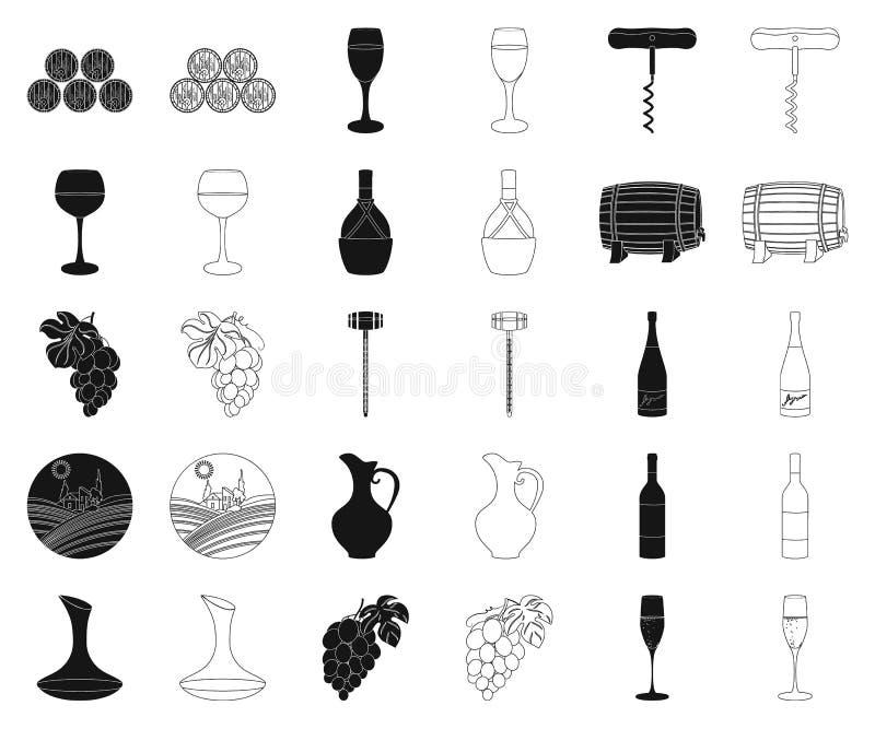 Produtos de vinho pretos, ícones do esboço em coleção ajustada para o projeto O equipamento e a produção de vinho vector a Web co ilustração stock