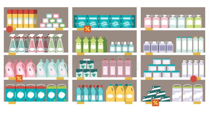 Produtos do agregado familiar nas prateleiras do supermercado ilustração do vetor