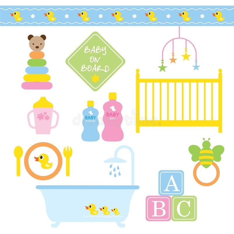 Produtos do bebê ilustração royalty free