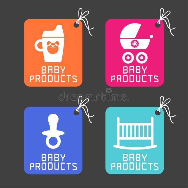 Produtos do bebê, logotipo dos artigos ilustração do vetor