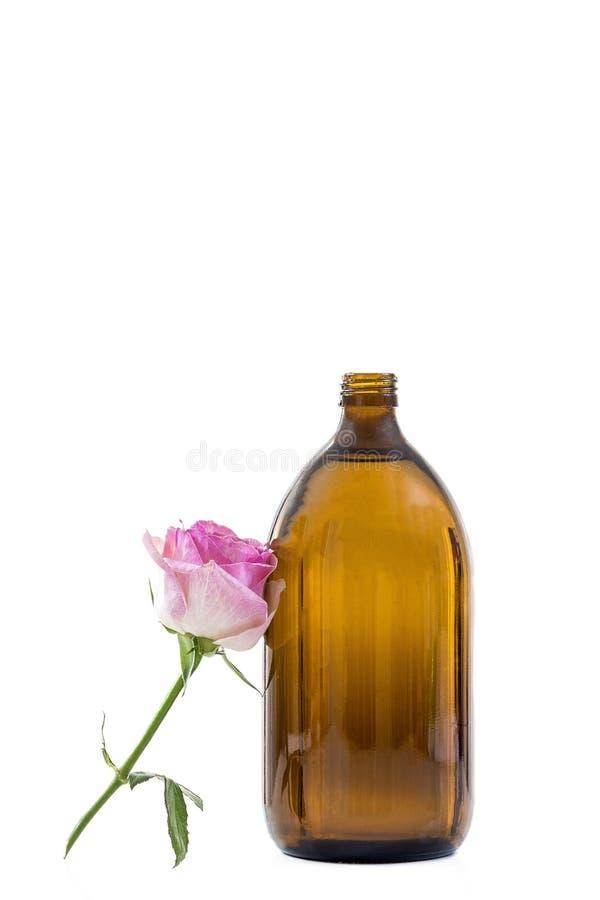 Produtos do cosmético do cuidado da beleza do perfume de Rosa Garrafa do óleo essencial, creme hidratante facial, flores cor-de-r imagens de stock royalty free