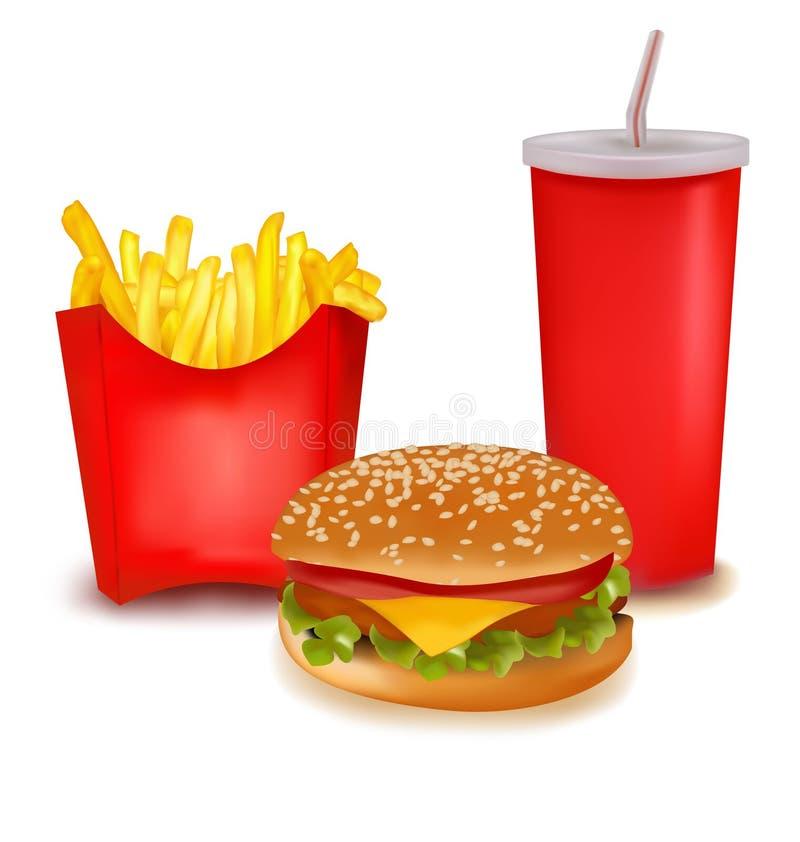 Produtos do fast food. ilustração do vetor
