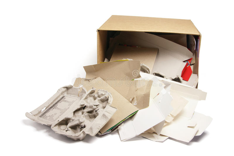 Produtos do papel Waste na caixa de cartão fotografia de stock