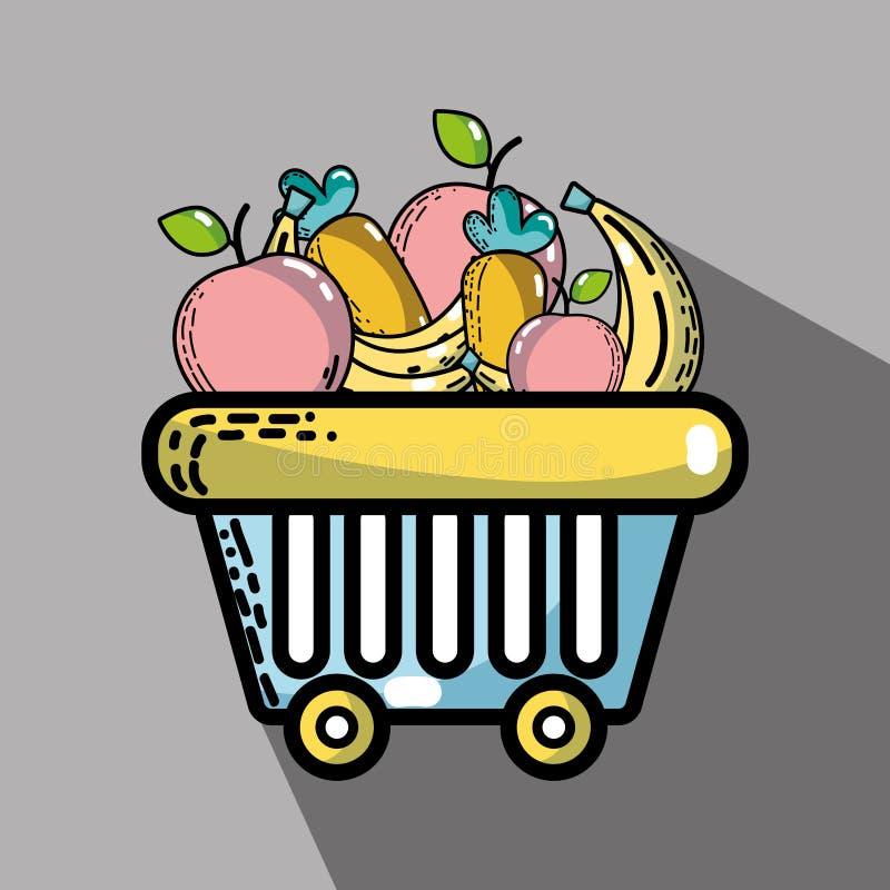 Produtos do supermercado e alimento frescos da nutrição ilustração do vetor