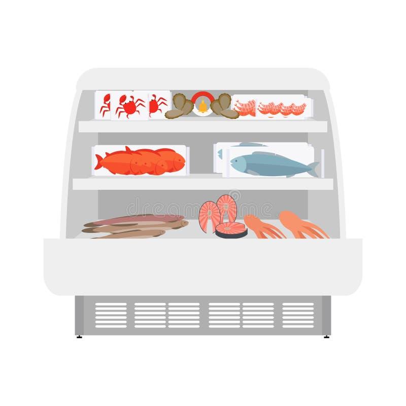 Produtos dos peixes e do marisco na loja ilustração stock
