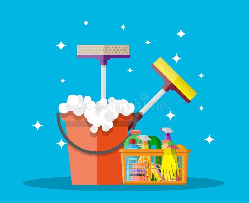 Produtos e acessórios de limpeza do agregado familiar ilustração stock