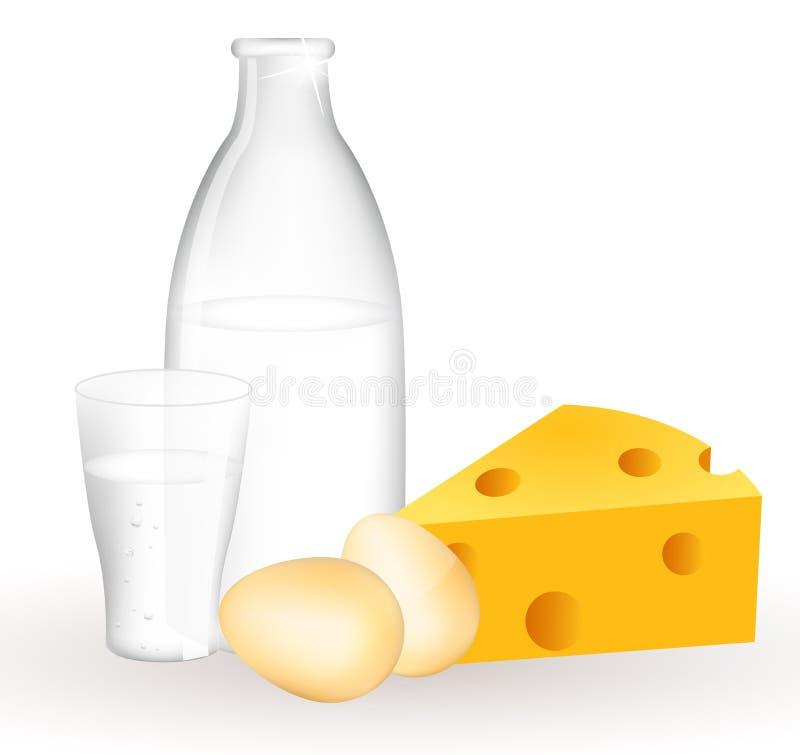 Produtos e ovos de leite ilustração royalty free