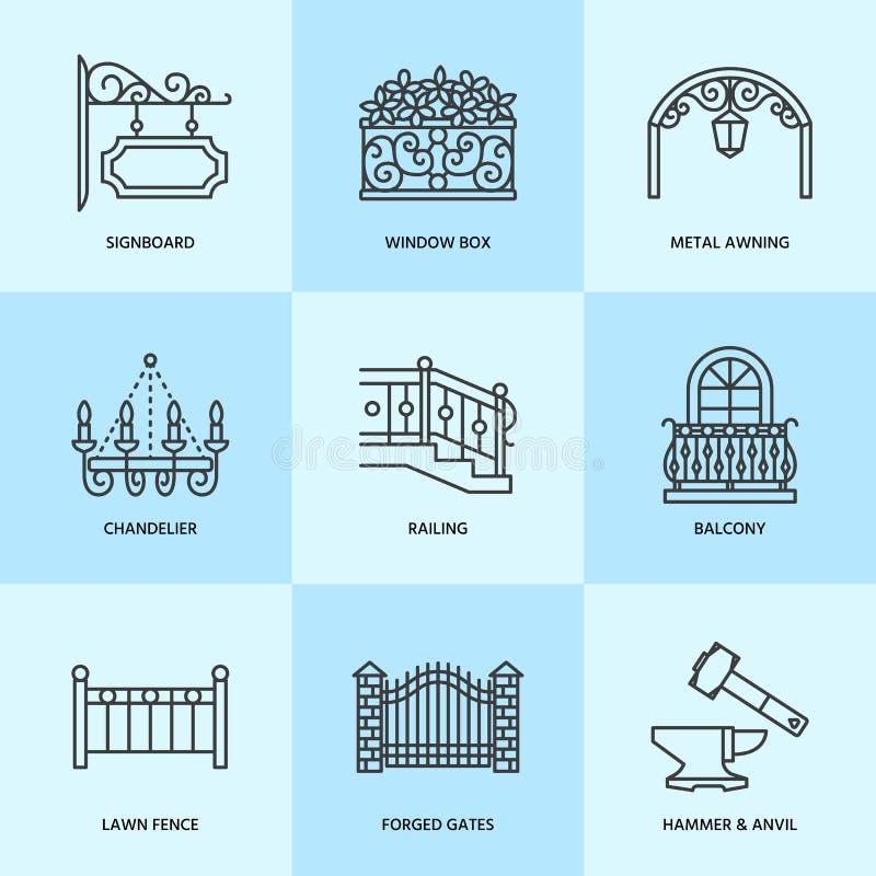 Produtos forjados, linha artística ícones do vetor do forjamento Elementos do ferreiro, cerca feita da janela, porta, cercando ilustração do vetor