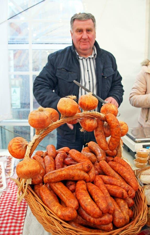 'Produtos justos da vila croata', contribuinte, 7, Zagreb, 2016 fotografia de stock