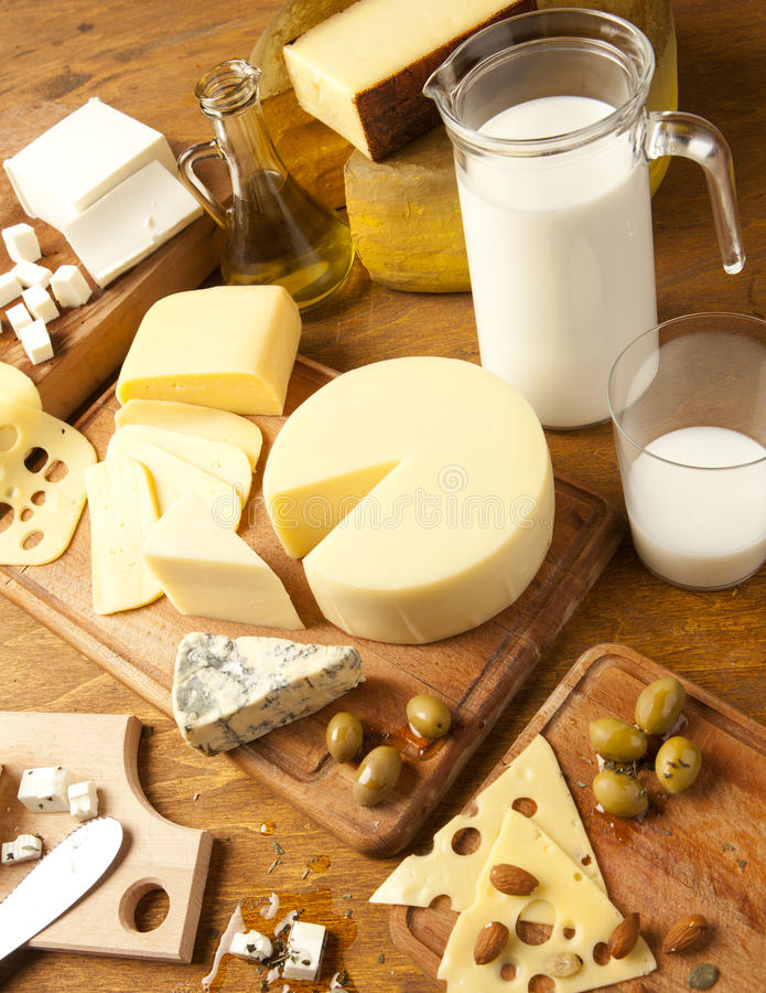 Produtos lácteos imagens de stock
