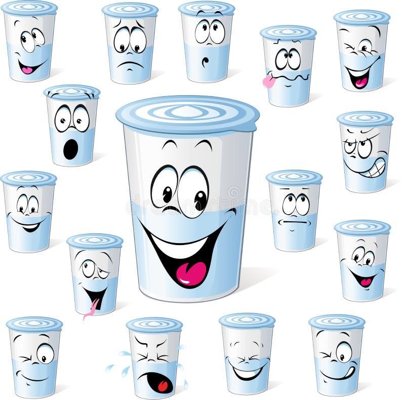 Produtos lácteos no copo plástico