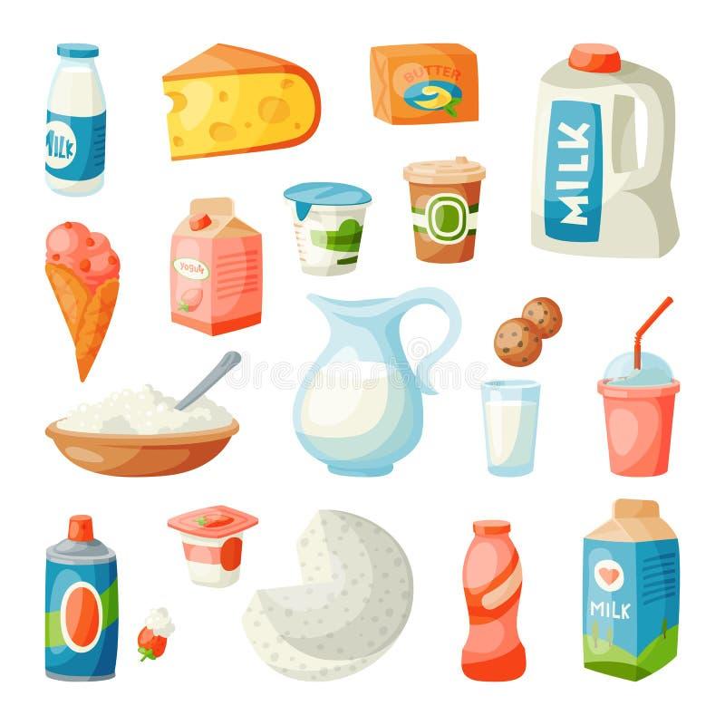 Produtos láteos do leite no vetor leitoso da nutrição do ingrediente da bebida do alimento fresco orgânico gourmet liso da dieta  ilustração royalty free
