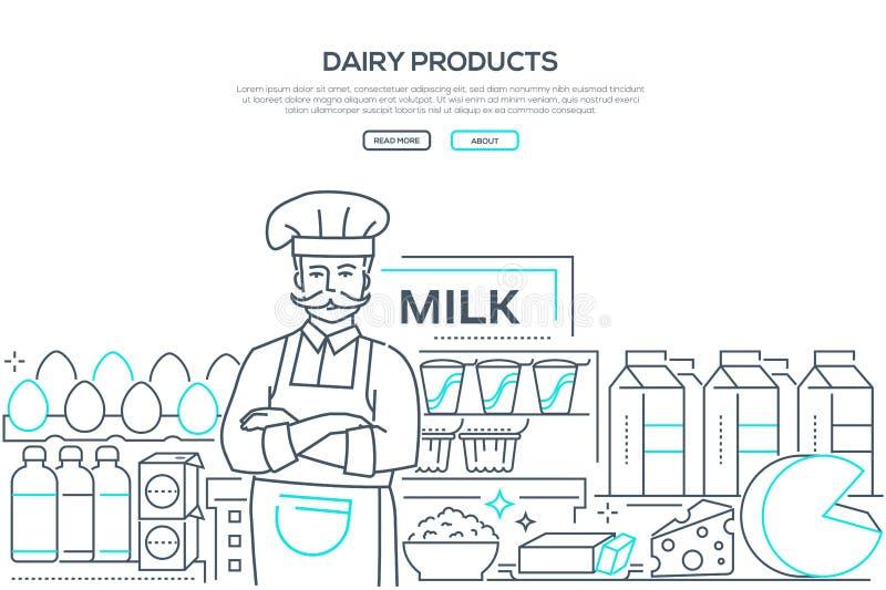 Produtos láteos - linha bandeira da Web do estilo do projeto ilustração stock