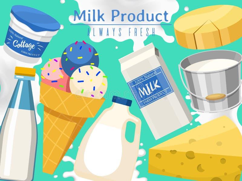 Produtos l?teos ou ilustra??o do vetor do grupo do leite Fresco, qualidade, bandeira do alimento biológico, cartaz Grandes gosto  ilustração do vetor