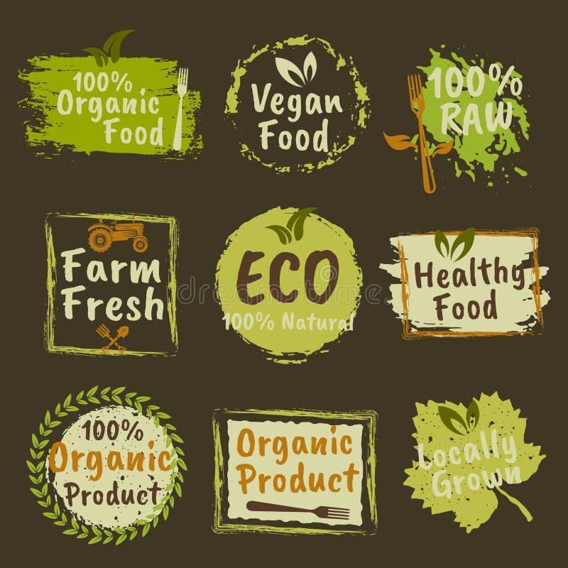 Produtos orgânicos e emblemas coloridos alimento do vegetariano ilustração royalty free