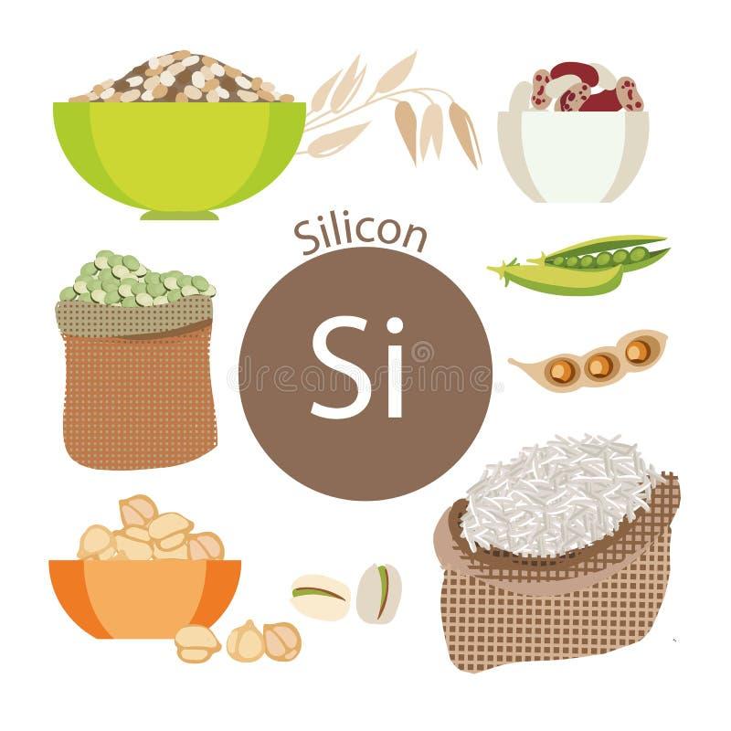 Produtos ricos com silicone Um grupo de alimentos orgânicos orgânicos com um índice mineral alto ilustração do vetor