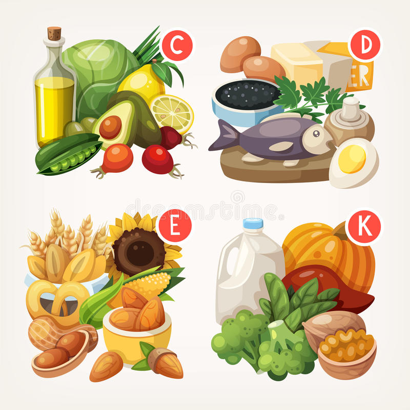 Produtos ricos com vitaminas ilustração do vetor