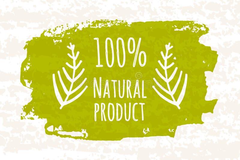 Produtos verdes do prozentuale 100 coloridos criativos do cartaz para a saúde da família inteira nenhuns aditivos químicos isolad ilustração do vetor