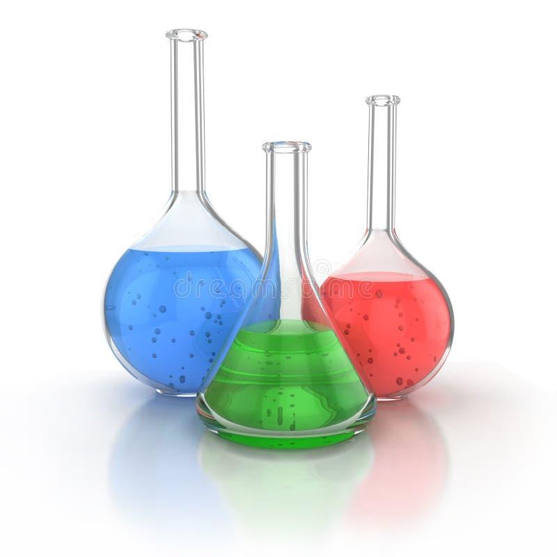 Produtos vidreiros de laboratório ilustração royalty free