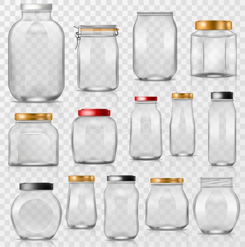 Produtos vidreiros vazios do pedreiro do vetor de vidro do frasco com tampa ou tampa para enlatar e preservar o grupo do copo da  ilustração stock