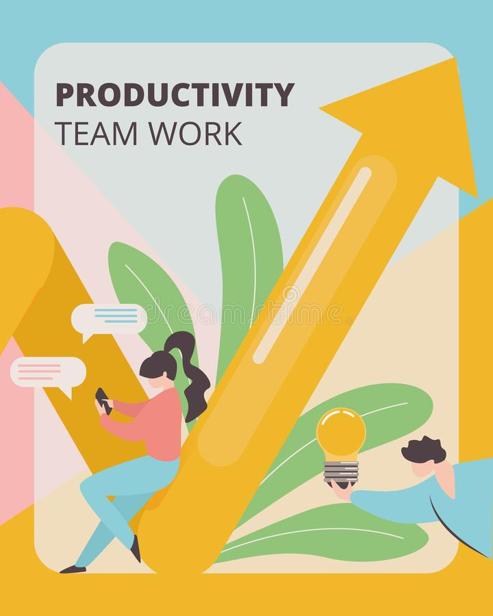 Produttività Team Work Banner Development Strategy royalty illustrazione gratis