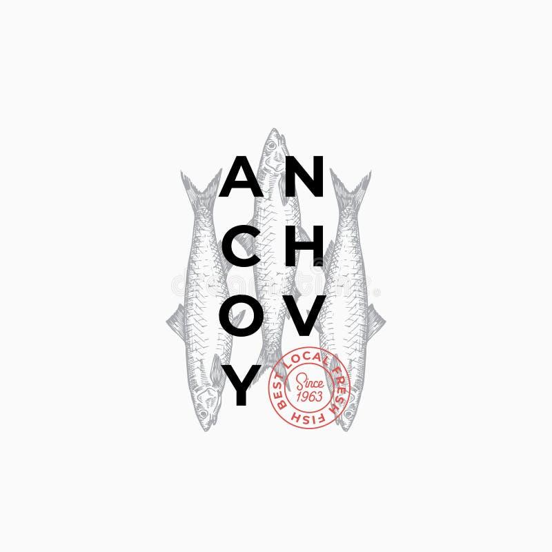 Produttori del pesce o segno di vettore del ristorante, simbolo o Logo Template astratto Pesce disegnato a mano dell'acciuga con  illustrazione vettoriale