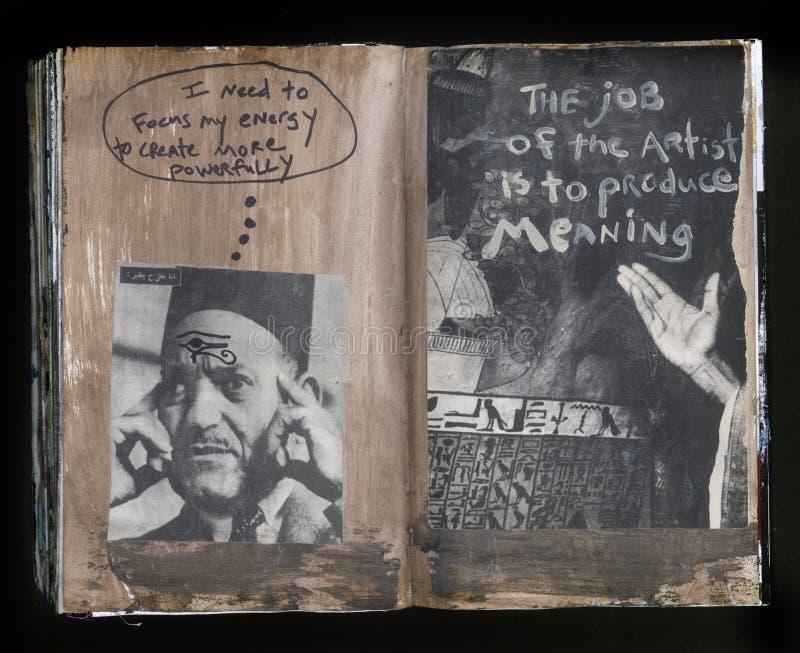 Produzieren Sie die Bedeutung der verrückte Klugheits-handgemachten Collage Art Journal lizenzfreie abbildung