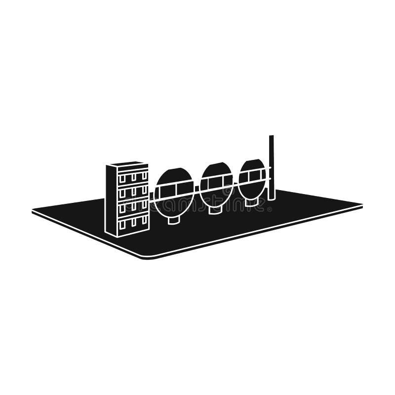 Produzione chimica Il tessuto ed icona dell'industria la singola nel simbolo isometrico di vettore di stile nero immagazzinano il illustrazione di stock
