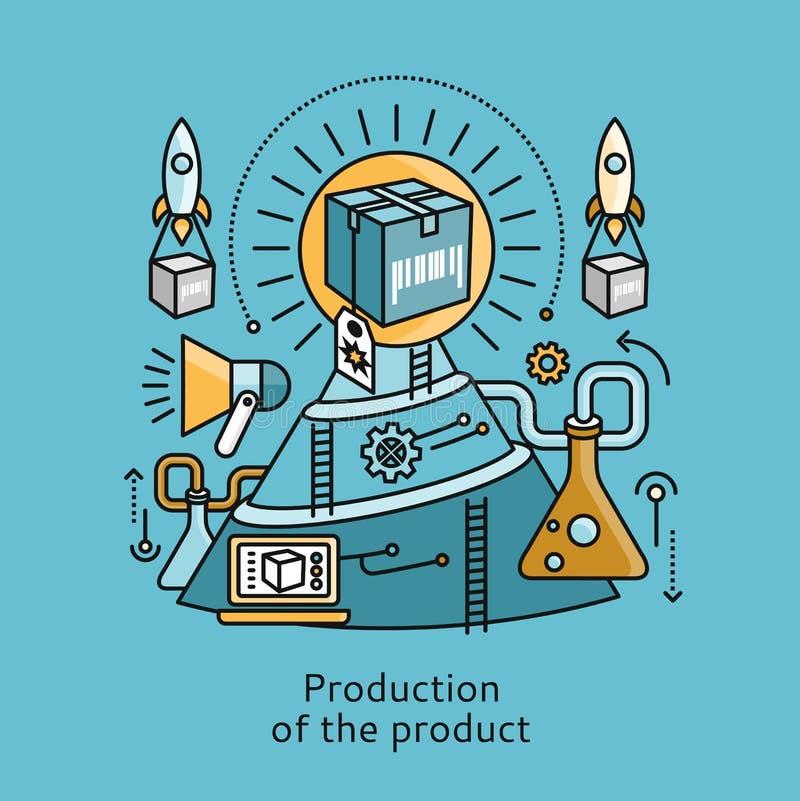 Produzione del concetto di progetto piano dell'icona del prodotto illustrazione vettoriale