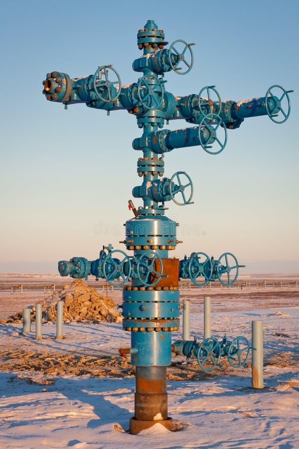 Produzione del gas naturale dei montaggi di gas della fontana fotografie stock libere da diritti